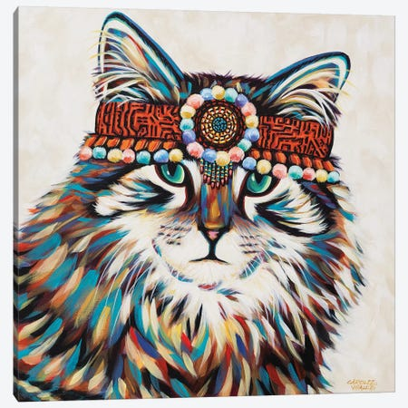 Hippie Cat II Canvas Print #VIT115} by Carolee Vitaletti Canvas Print