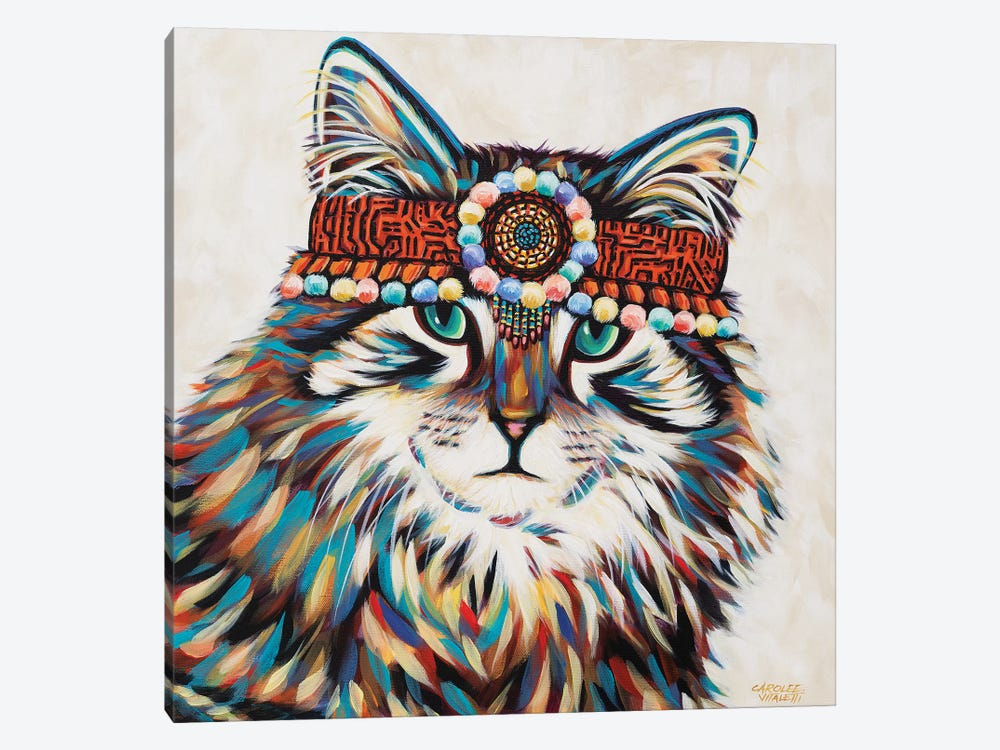 Hippie Cat II 1-piece Canvas Wall Art