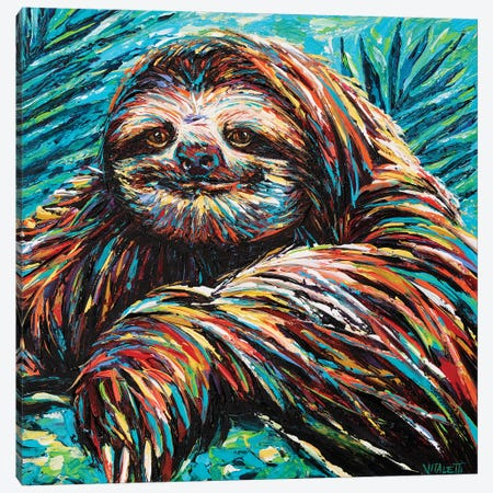 Painted Sloth I Canvas Print #VIT118} by Carolee Vitaletti Canvas Wall Art