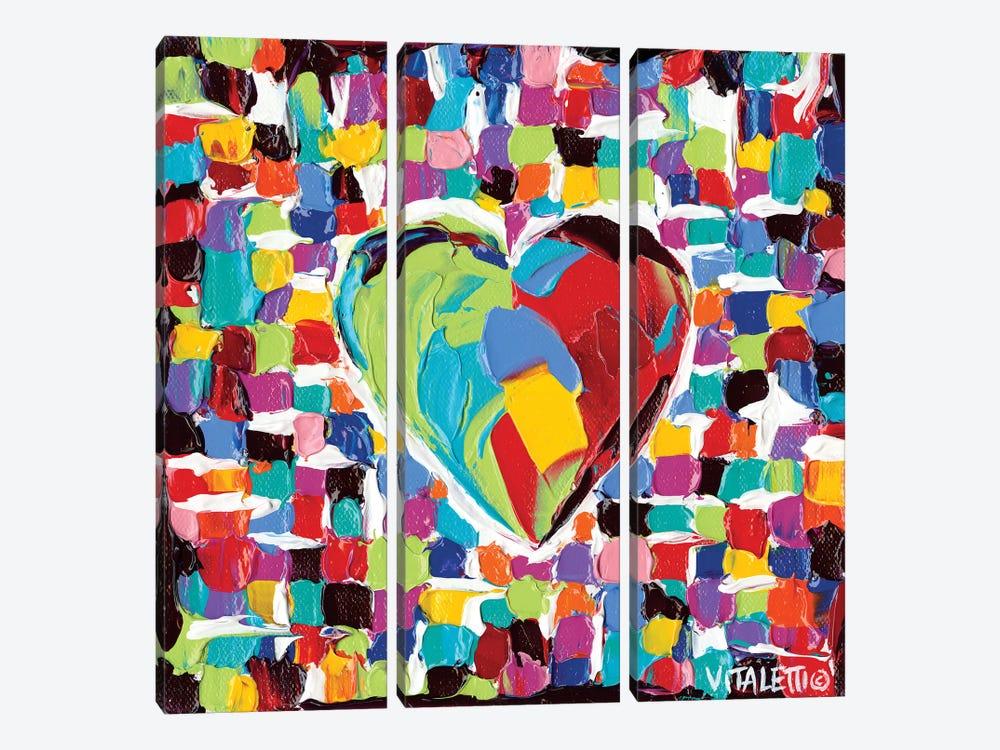 Mosaic Heart I by Carolee Vitaletti 3-piece Canvas Wall Art