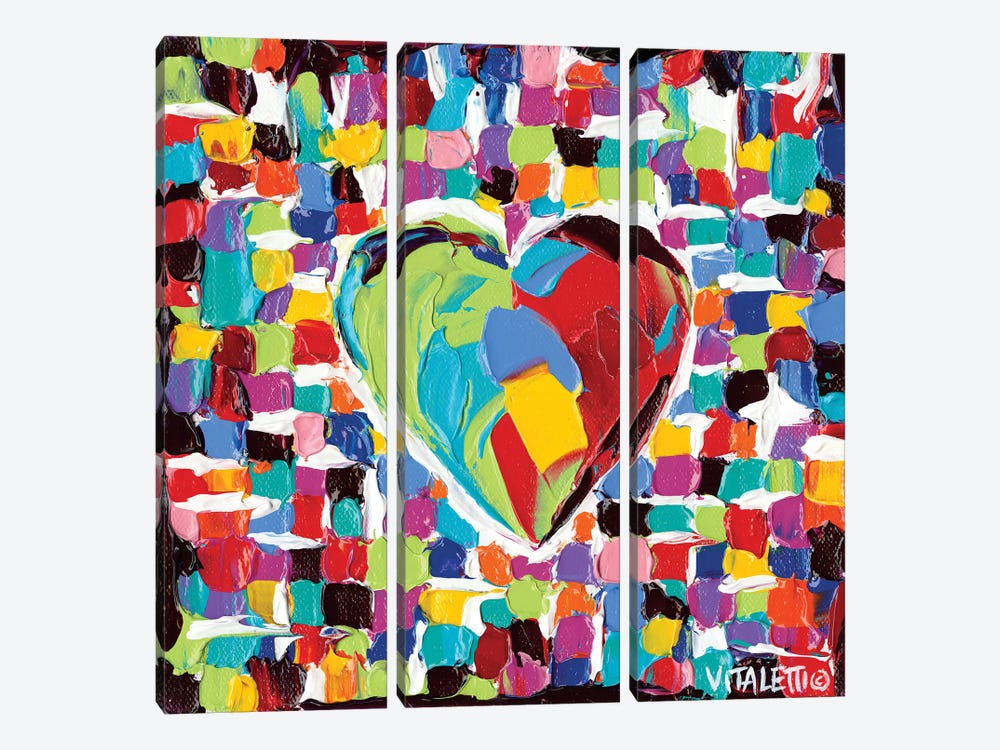 Mosaic Heart I by Carolee Vitaletti 3-piece Canvas Wall Art