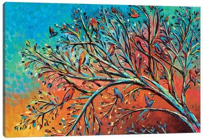Sunrise Treetop Birds I Canvas Art Print