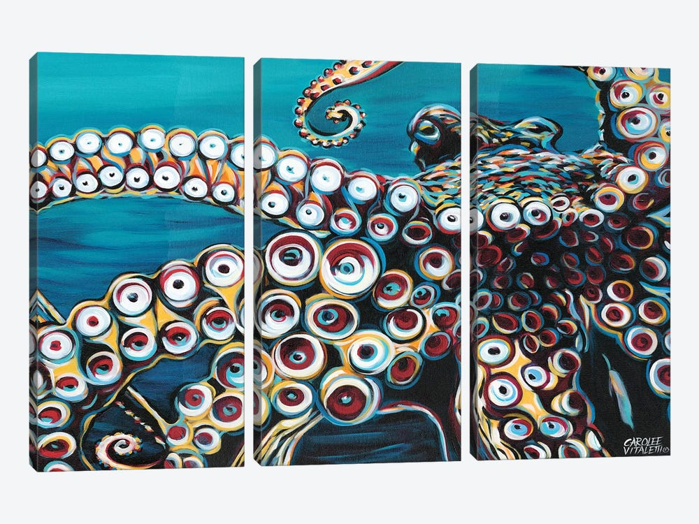 Wild Octopus I by Carolee Vitaletti 3-piece Canvas Artwork