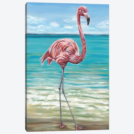 Beach Walker Flamingo I Canvas Print #VIT55} by Carolee Vitaletti Art Print