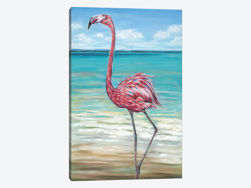 Beach Walker Flamingo II by Carolee Vitaletti 1-piece Art Print