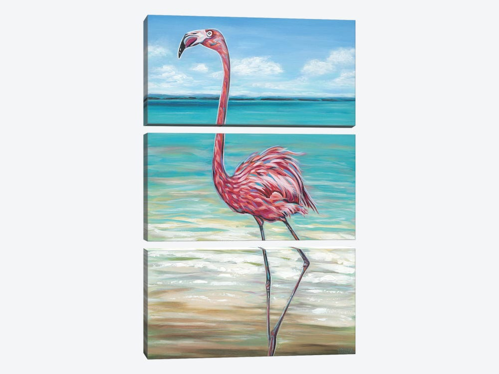 Beach Walker Flamingo II 3-piece Art Print