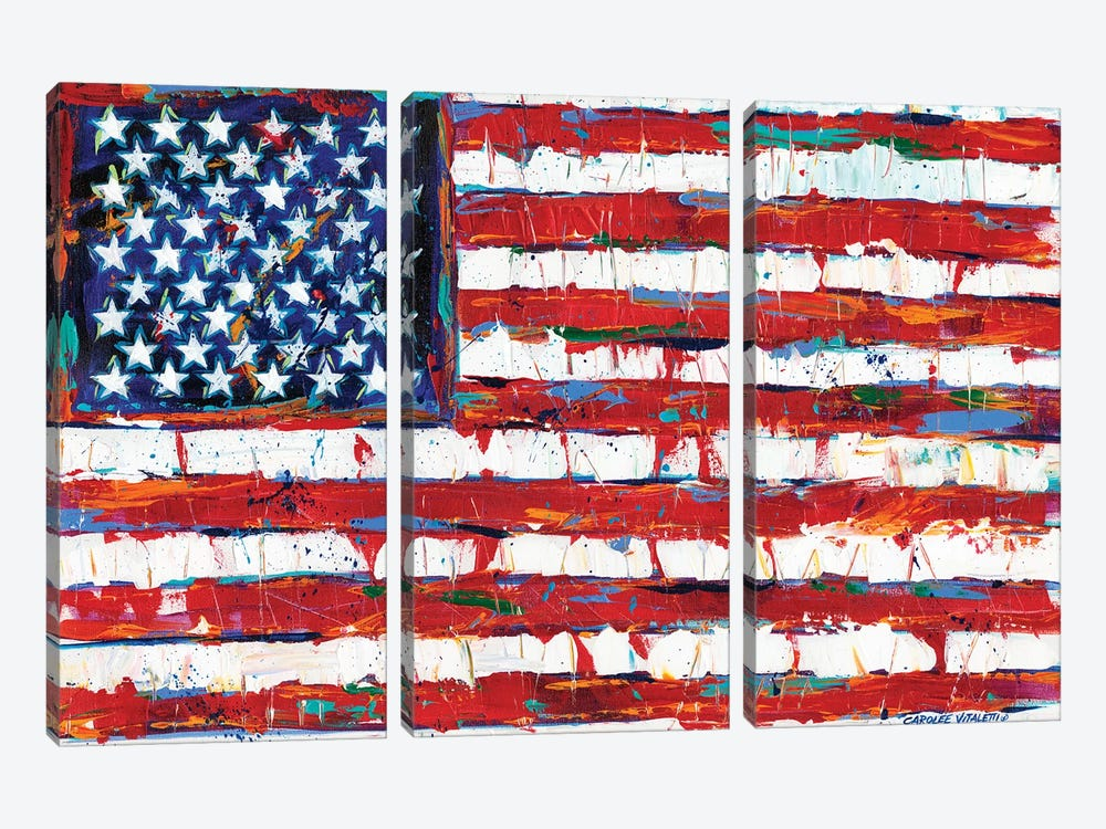 Dramatic Stars & Stripes by Carolee Vitaletti 3-piece Canvas Artwork