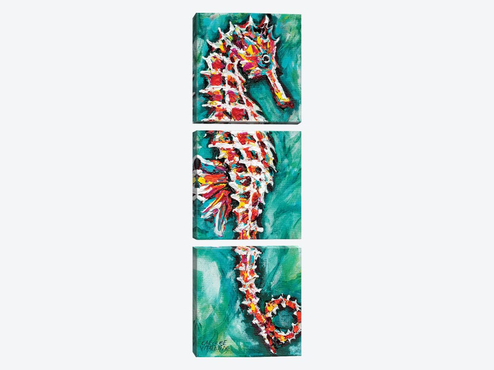 Radiant Seahorse I by Carolee Vitaletti 3-piece Canvas Wall Art