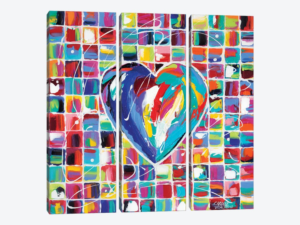 Hearts Of A Different Color I by Carolee Vitaletti 3-piece Canvas Artwork