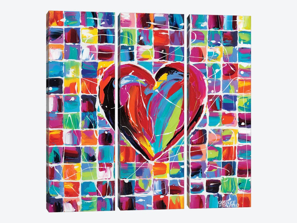 Hearts Of A Different Color II by Carolee Vitaletti 3-piece Canvas Art Print
