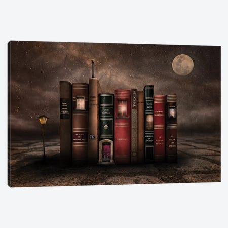 Night Library Canvas Print #VKM2} by Muriel Vekemans Canvas Wall Art