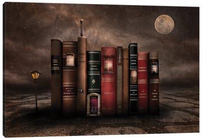 Night Library Canvas Art Print