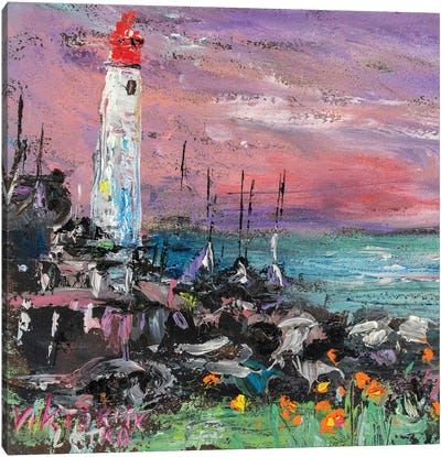 Tired Lighthouse Waiting For The Morning Canvas Art Print