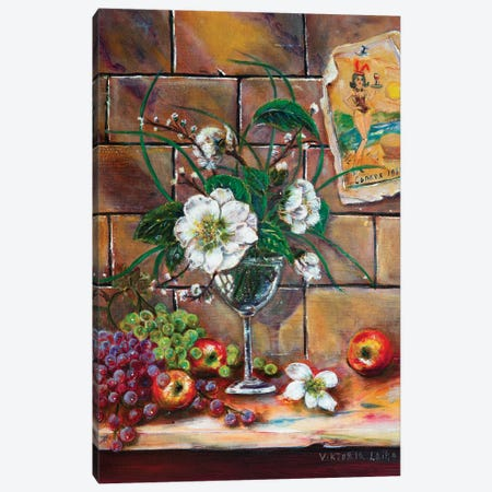 French Still Life With Lilies Canvas Print #VKT20} by Viktoria Latka Canvas Wall Art