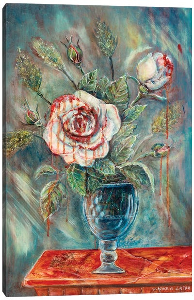 Weeping Rose In A Glass Canvas Art Print