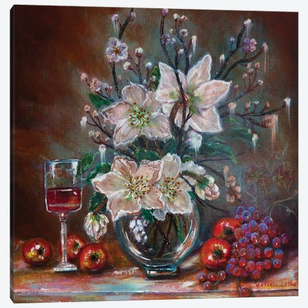 White Lilies And Red Wine Canvas Print #VKT22} by Viktoria Latka Canvas Art
