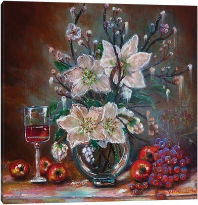 White Lilies And Red Wine Canvas Art Print