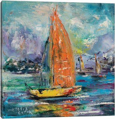 Yellow Sailboat In Paradise Bay Canvas Art Print