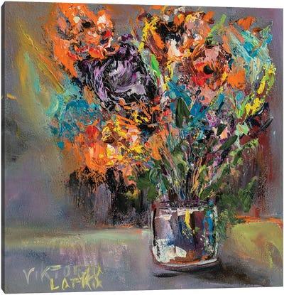 Colorful Hydrangeas In Glass Canvas Art Print