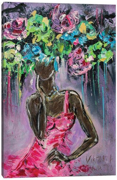 Dancing Girl In Pink Canvas Art Print