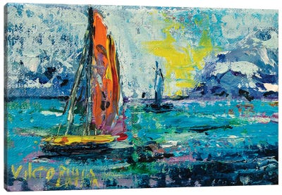 Little Yellow Sailboat Canvas Art Print