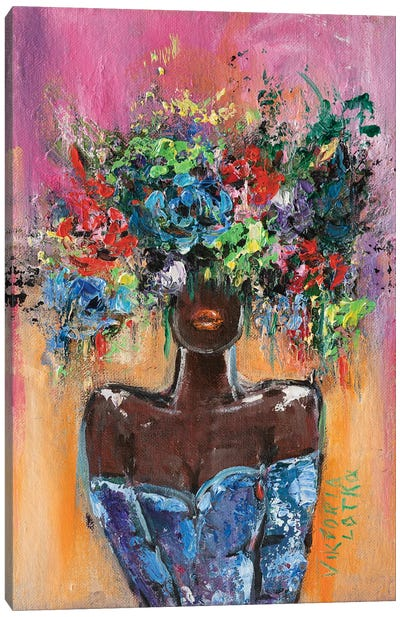 Chocolate Girl In Purple Canvas Art Print