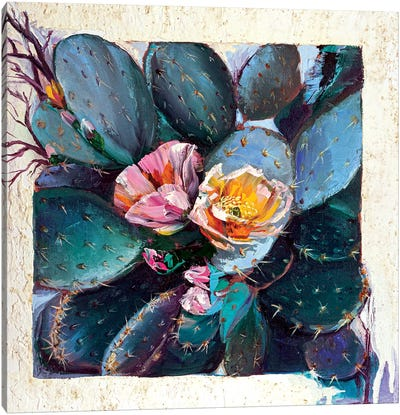 Blooming Cactus Canvas Art Print