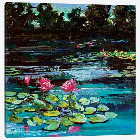 Pond With Water Lilies Canvas Print #VLC22} by Valeria Luchistaya Canvas Wall Art