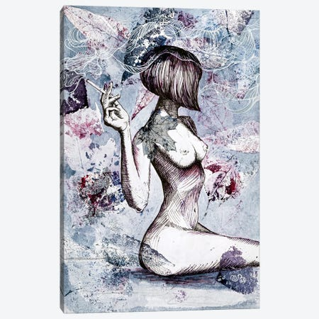 Nude With A Cigarette Canvas Print #VLC27} by Valeria Luchistaya Canvas Print