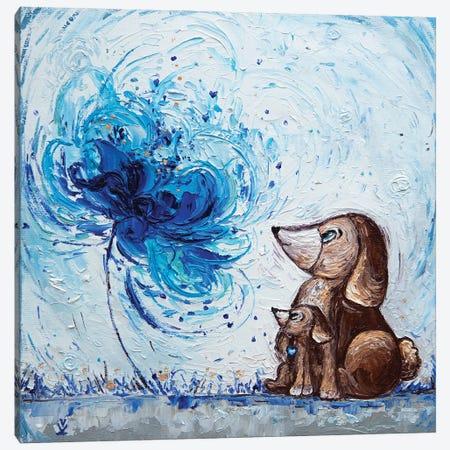 Flower Of Maternal Love Dogs 3-Piece Canvas #VLK11} by Vlada Koval Art Print