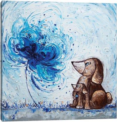 Flower Of Maternal Love Dogs Canvas Art Print