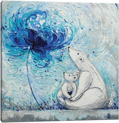 Flower Of Motherly Love Teddy Bears Canvas Art Print