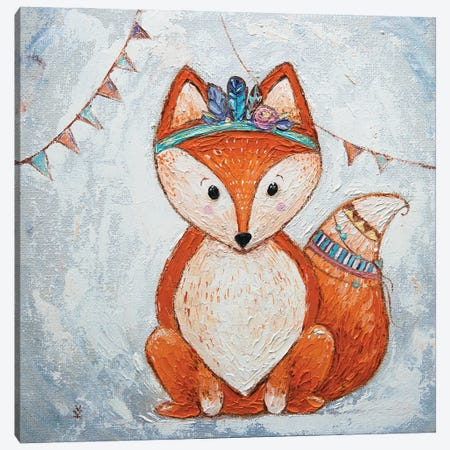Fox And Flags Canvas Print #VLK14} by Vlada Koval Canvas Art