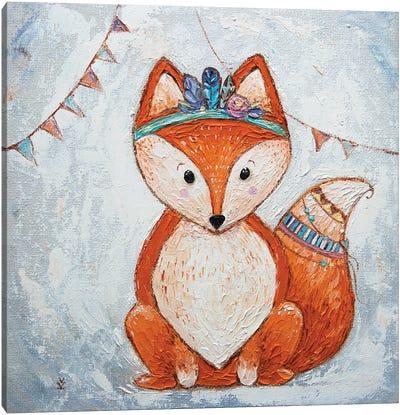 Fox And Flags Canvas Art Print