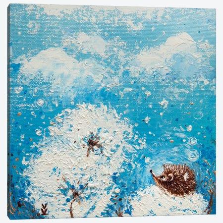 Hedgehog And Dandelions Canvas Print #VLK17} by Vlada Koval Canvas Wall Art