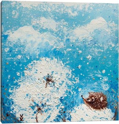 Hedgehog And Dandelions Canvas Art Print