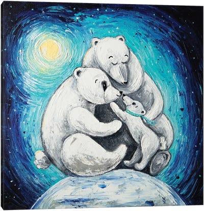 Polar Bear Family Canvas Art Print