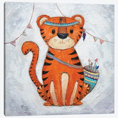 Tiger And Flags Canvas Print #VLK38} by Vlada Koval Canvas Print