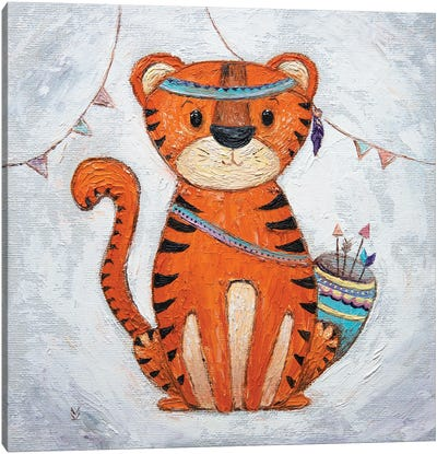 Tiger And Flags Canvas Art Print