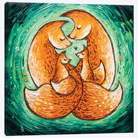 Chanterelle Family On Green 3-Piece Canvas #VLK4} by Vlada Koval Canvas Art