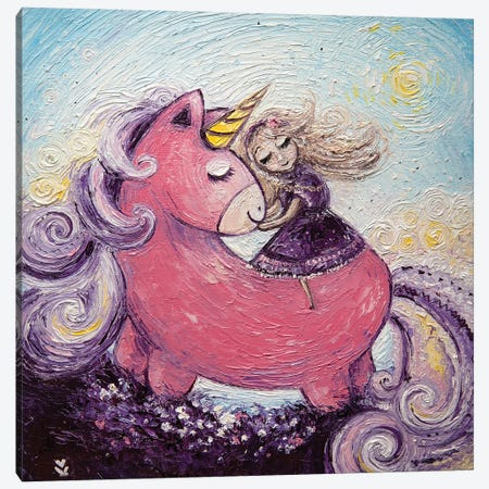 Unicorn And Princess Canvas Print #VLK51} by Vlada Koval Canvas Print