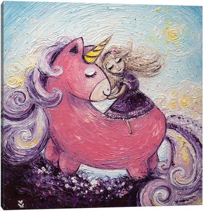 Unicorn And Princess Canvas Art Print