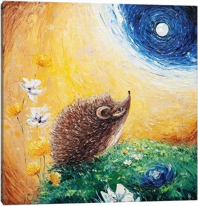 Hedgehog And The Moon Canvas Art Print