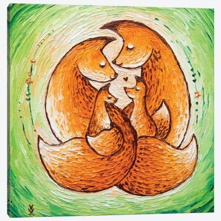 Chanterelle Family On Light Green 3-Piece Canvas #VLK5} by Vlada Koval Canvas Art