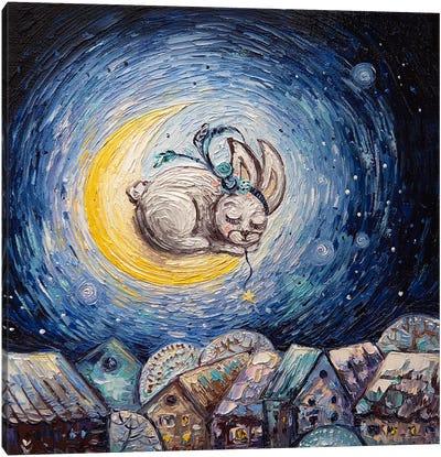 Rabbit And Month Canvas Art Print
