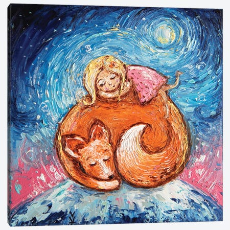 Dream Foxes And Babies Canvas Print #VLK9} by Vlada Koval Canvas Art Print