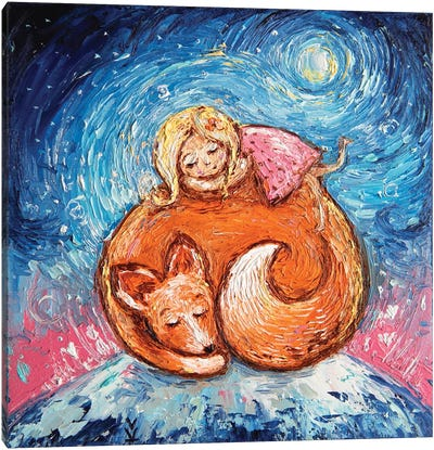 Dream Foxes And Babies Canvas Art Print