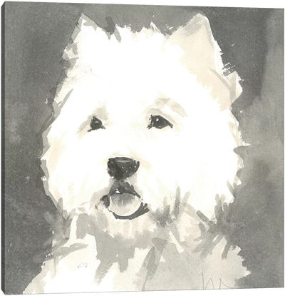 Sepia Modern Dog X Canvas Art Print