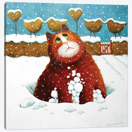 Albert In The Snow 3-Piece Canvas #VMN10} by Vicky Mount Canvas Art Print