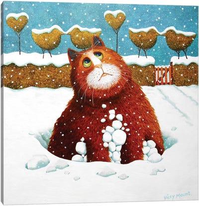 Albert In The Snow Canvas Art Print